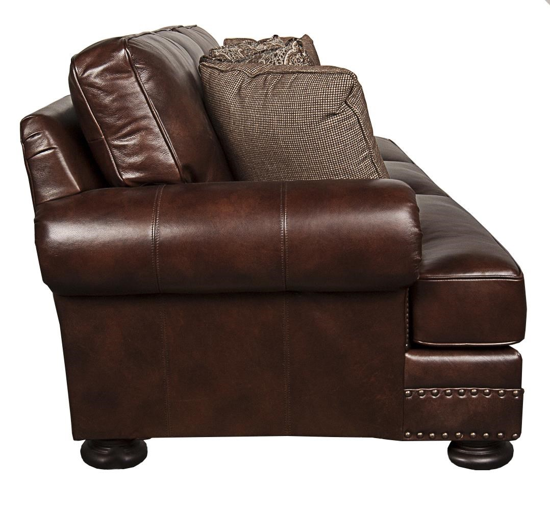 down filled leather sectional sofa sofas direct from factory bernhardt foster classic 100 with nailhead