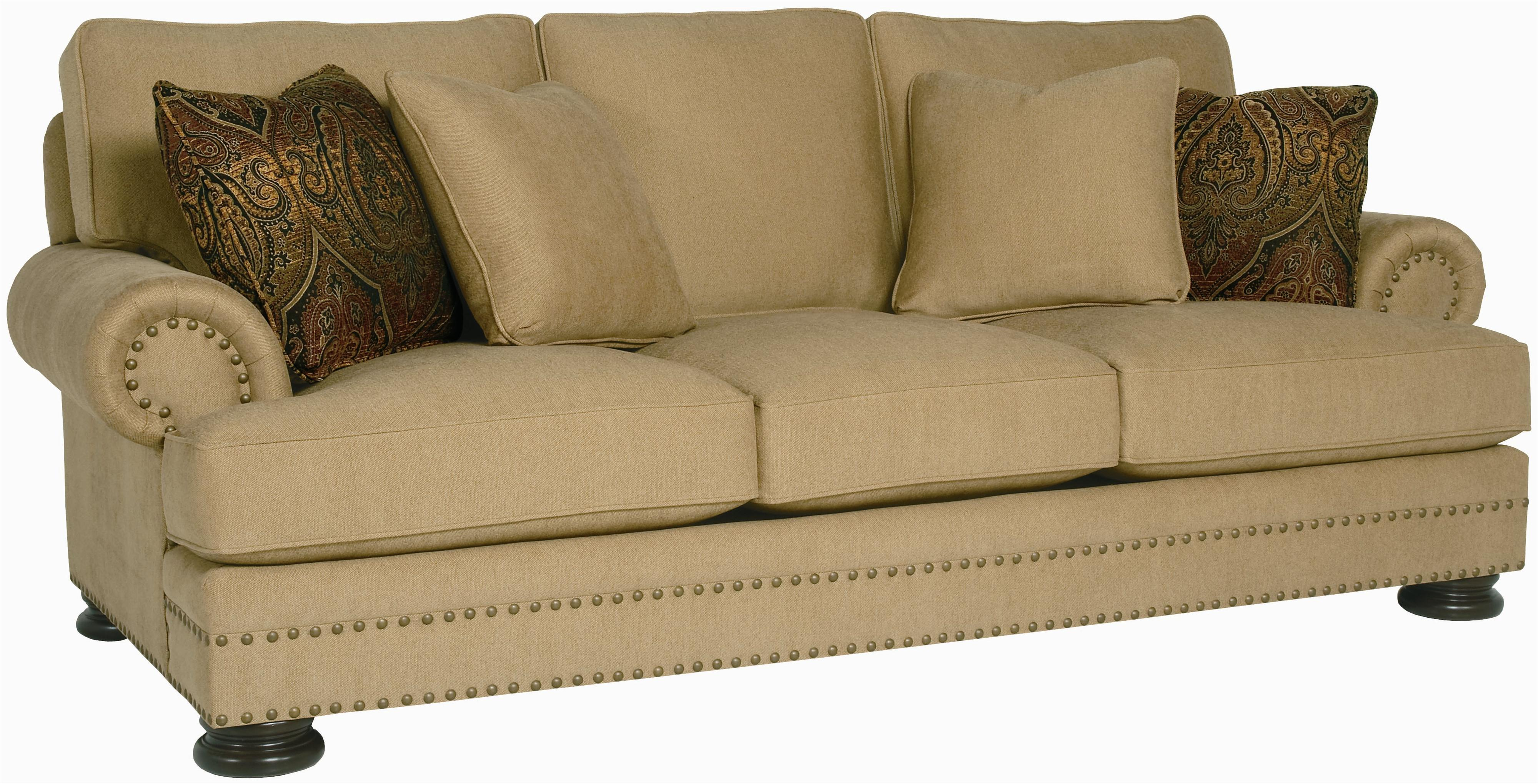 sofa nailhead couch furniture bernhardt foster stationary with trim
