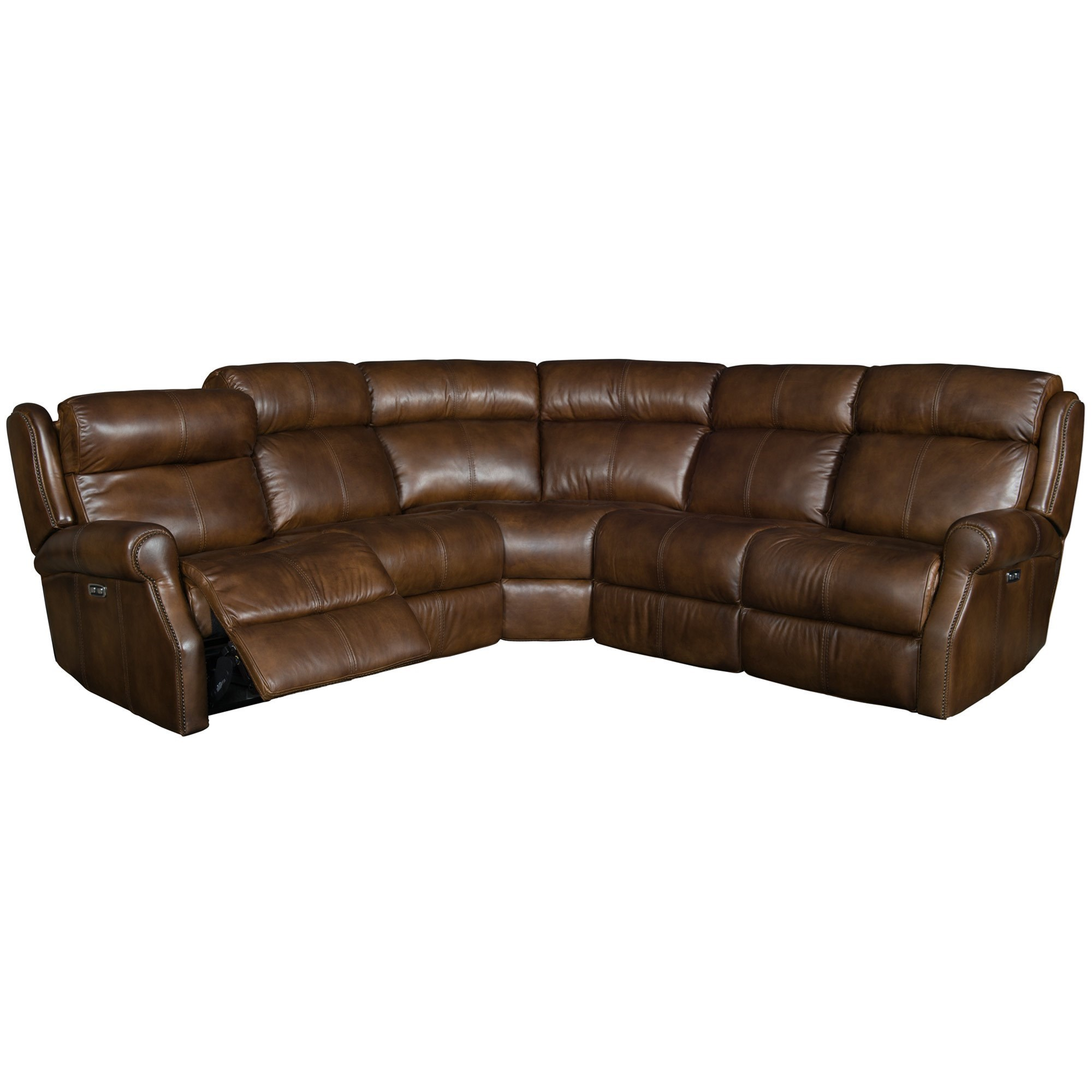 caruso leather 5 piece power motion sectional sofa mariposa sofabord bernhardt mcgwire three reclining