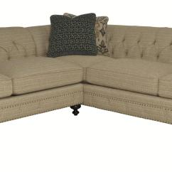 Bernhardt Riviera Large Sofa Gray Fabric Sectional Sofas With Rolled Arms And Tufted
