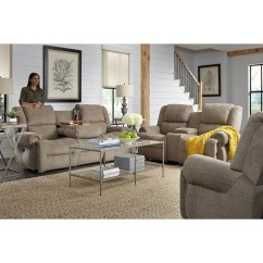 Microfiber Reclining Sofa With Drop Down Table Grey Throw Best Home Furnishings Genet Power Space Saver
