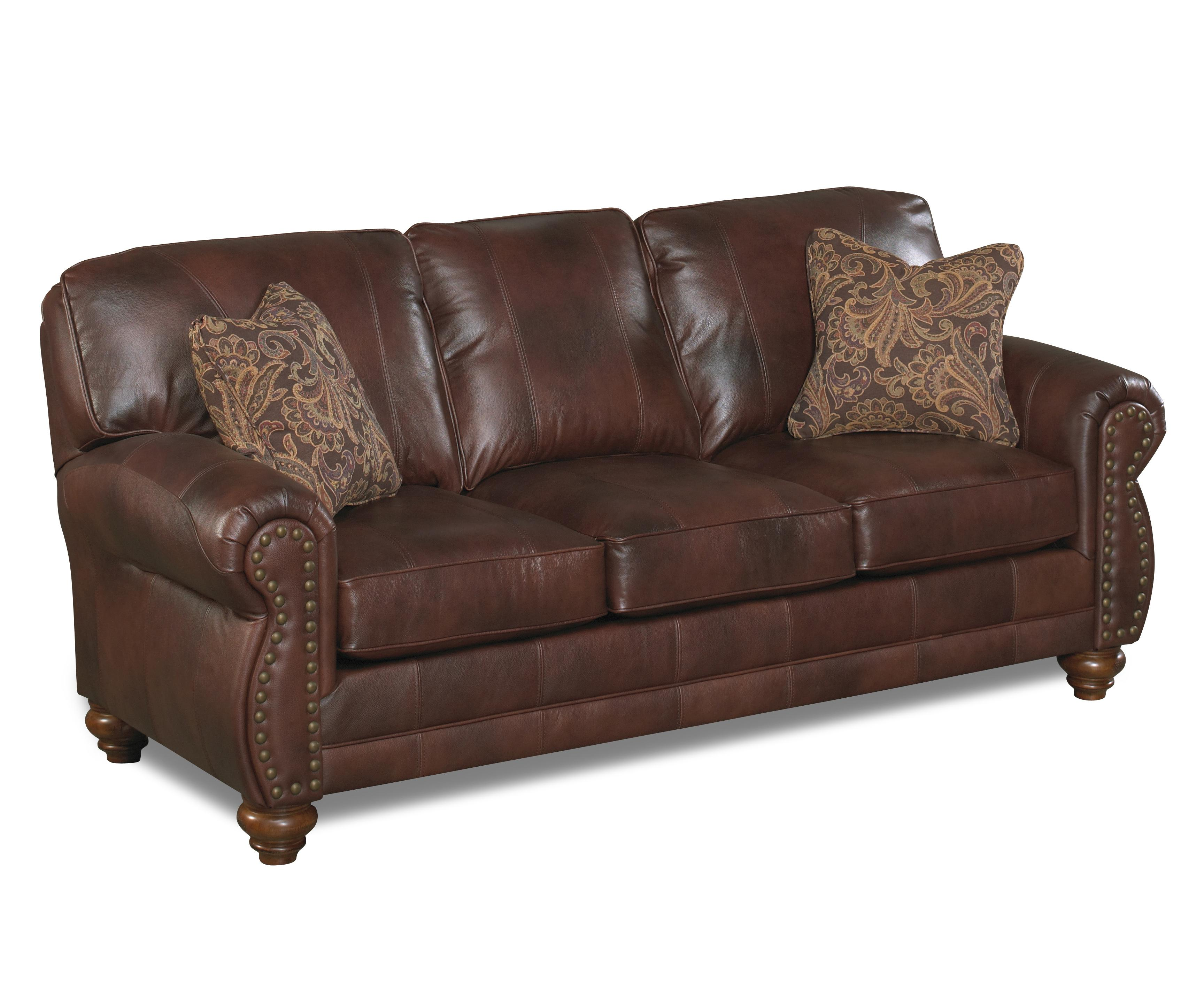 sofa nailhead new slipcover pottery barn best home furnishings noble s64lu stationary leather
