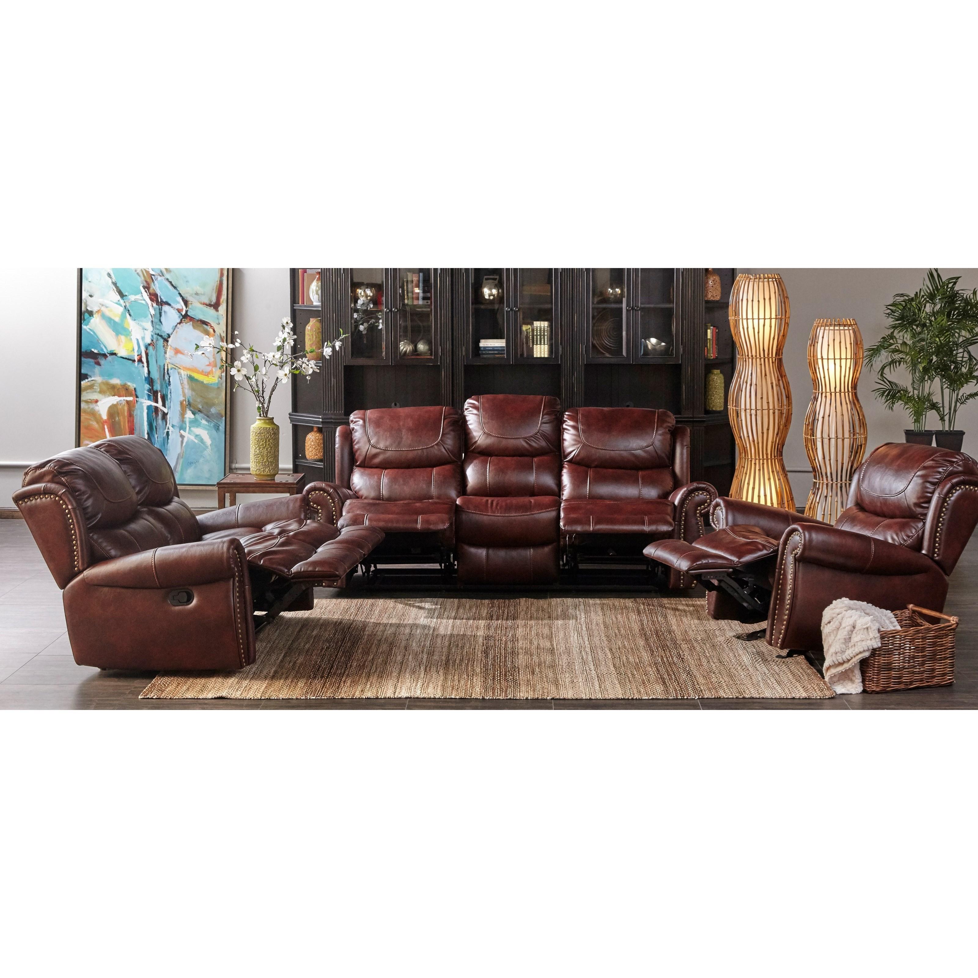 reclining sofa with nailhead trim elran sectional dual xw1012m qs by