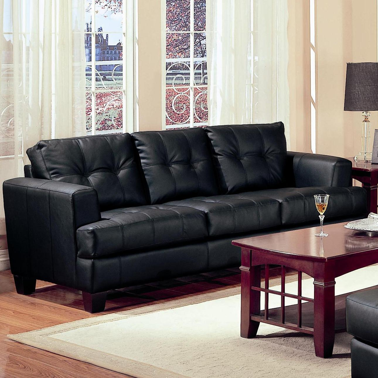 coaster samuel bonded leather sofa folding sofas 2 piece black loveseat and