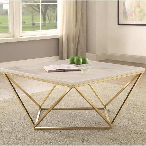 Coaster 700846 Contemporary Faux Marble Coffee Table City Furniture Cocktail Tables