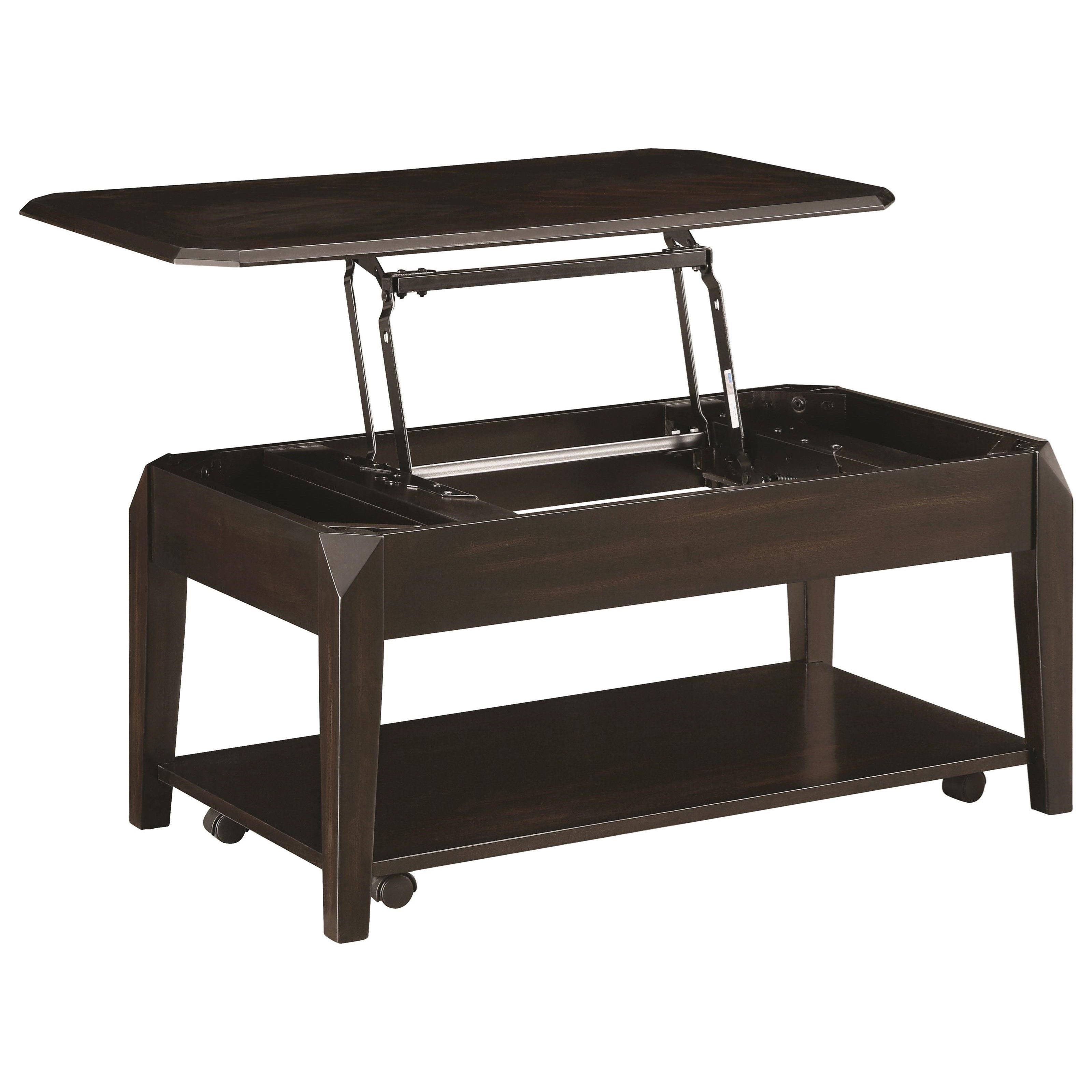 coaster fine furniture cappuccino rectangular console and sofa table leather with wooden trim 72104 lift top coffee rife 39s