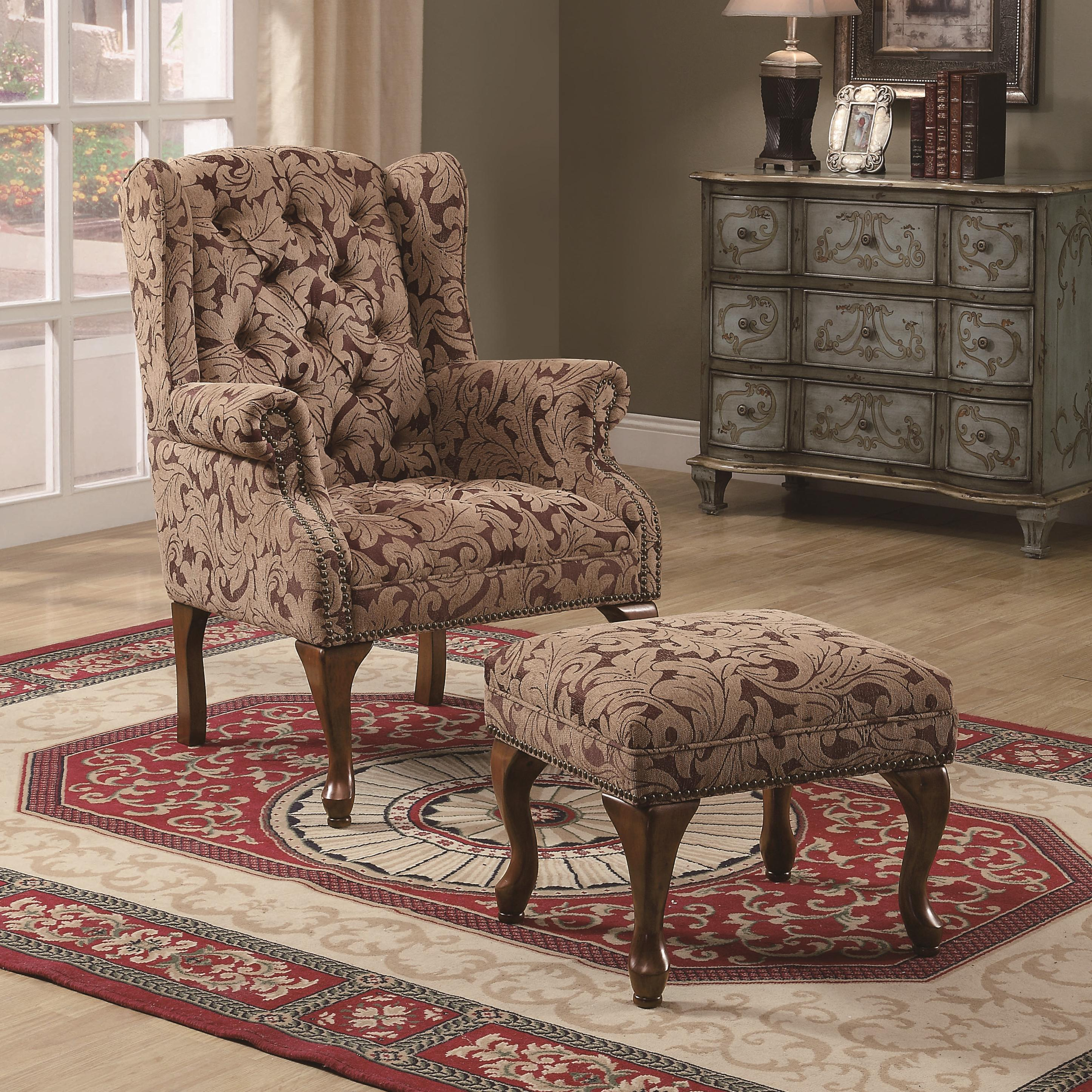 Chair Coasters Coaster Accent Seating Traditional Tufted Wing Back Chair