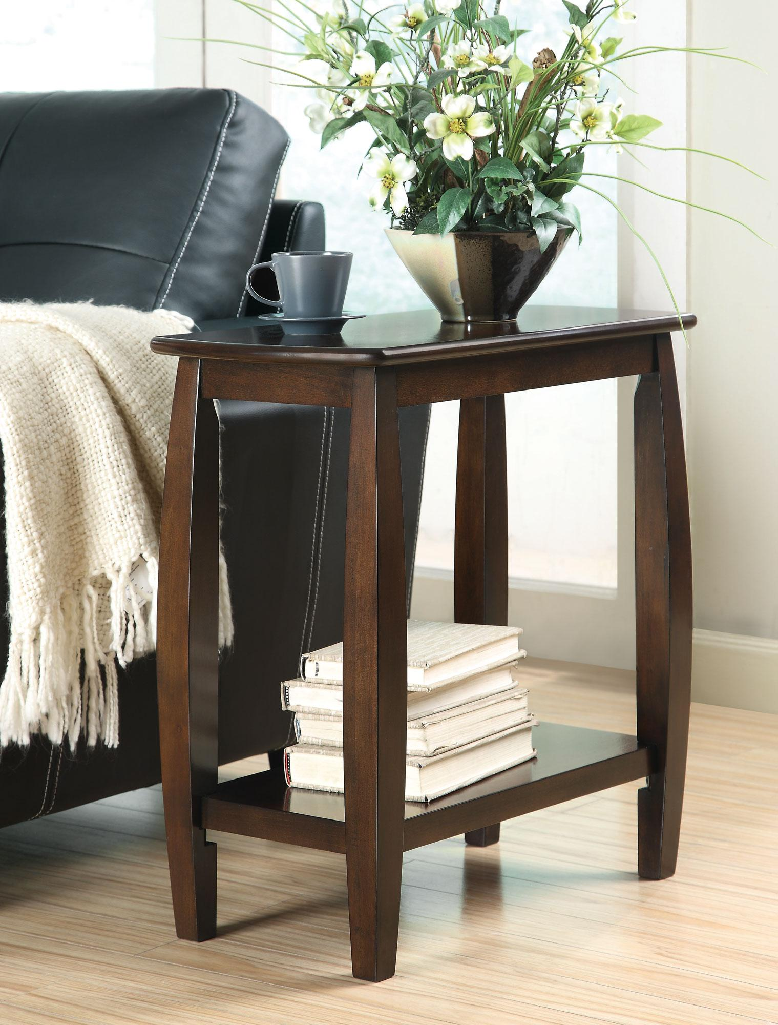 Chair Side Table Coaster Accent Tables Contemporary Bowed Leg Chairside
