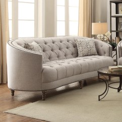 C Shaped Sofa Designs Modern Grey Tufted Coaster Avonlea With Button Tufting And