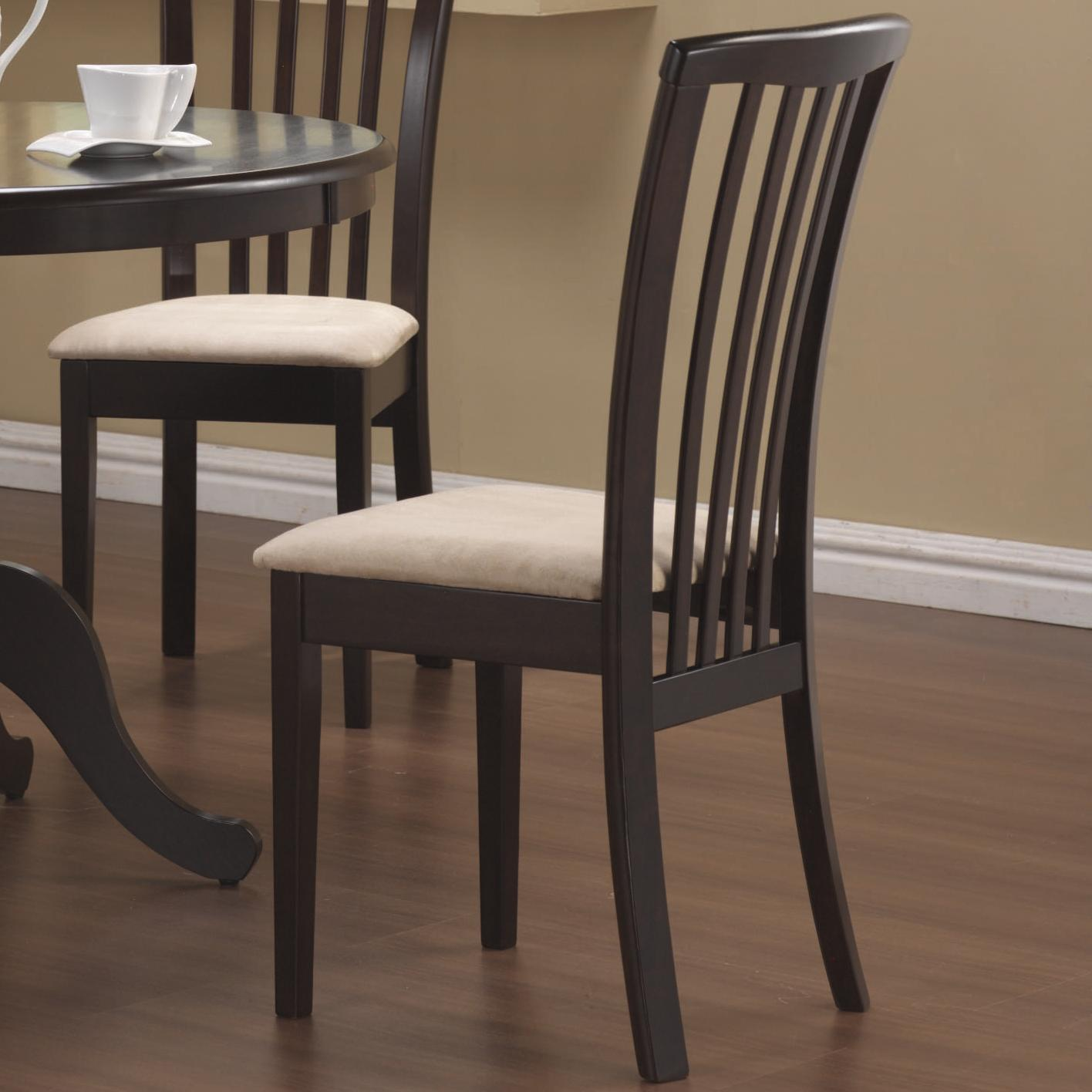 Chair Coasters Coaster Brannan Slat Back Side Chair With Upholstered Seat