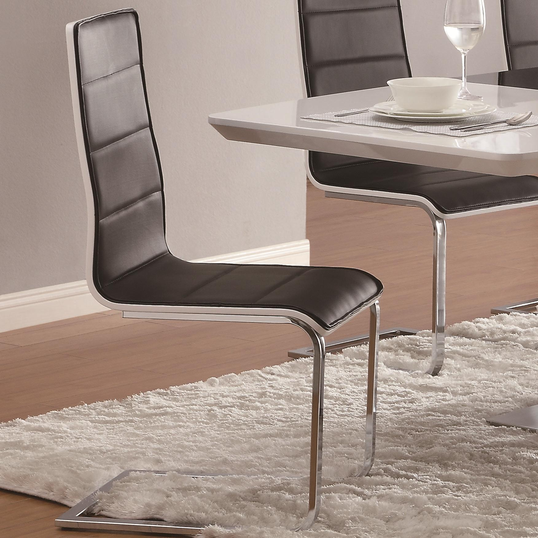 black dining room chairs with chrome legs spica chair for sale coaster broderick 120948 contemporary side