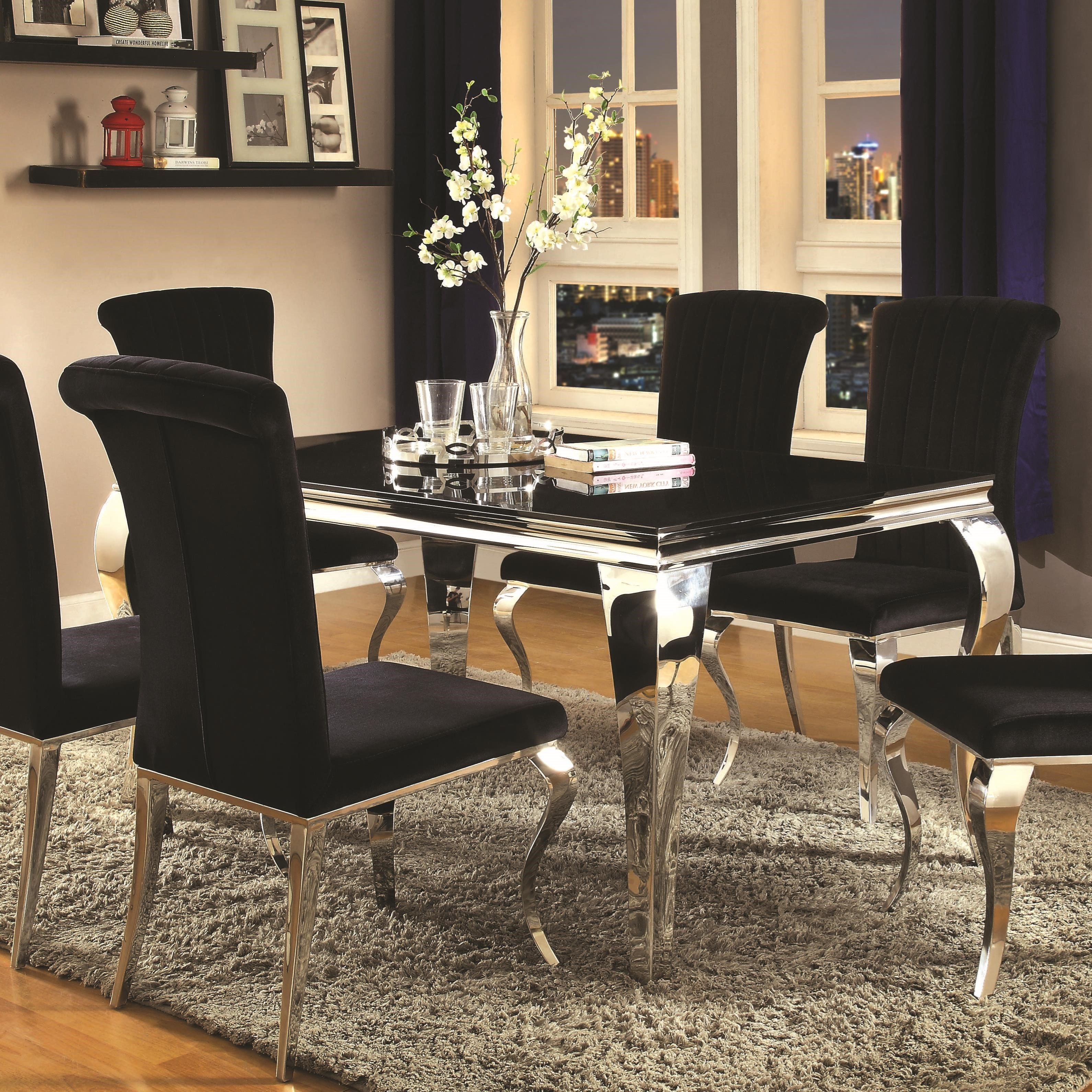 value city kitchen sets appliance package deals sears coaster carone contemporary rectangular dining table