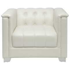 White Tufted Chairs Hair On Hide Chair Coaster Chaviano 505393 Low Profile Pearl