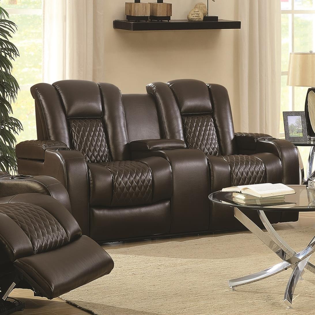 power reclining sofa with cup holders fundas para sofas en l coaster delangelo 602305p casual love seat