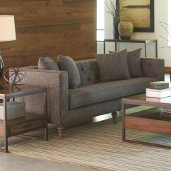 Industrial Style Sofa Walnut Brown Leather Coaster Ellery 505771 With Traditional