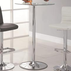 Led Table And Chairs Dining Arm Coaster 42 Transitioning Bar With Chrome