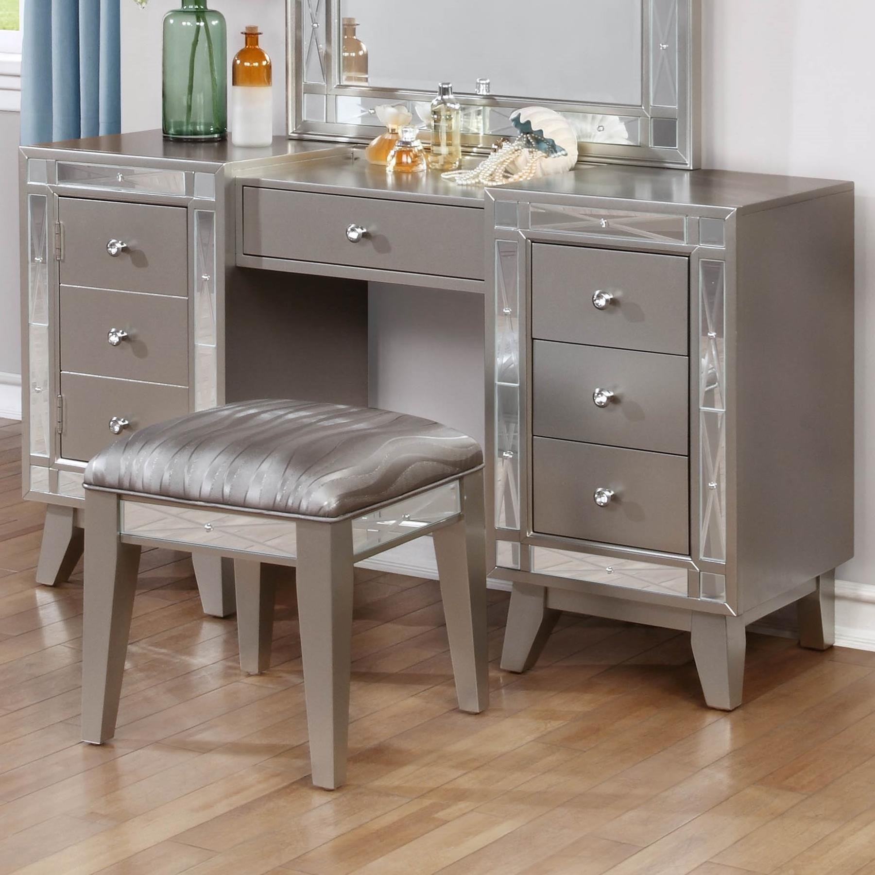 vanity with mirror and chair swing images coaster leighton desk stool value city