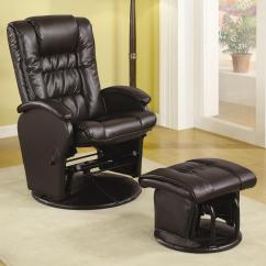 Glider Recliner Chair With Ottoman Teal Computer Coaster Recliners Ottomans 600164 Casual Leather Like