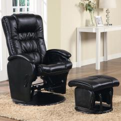 Glider Recliner Chair With Ottoman Office Base Coaster Recliners Ottomans 600164 Casual Leather Like
