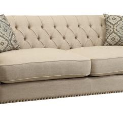 French Linen Tufted Sofa Big Lots Sectional Covers With Nailheads Maxwell Upholstered
