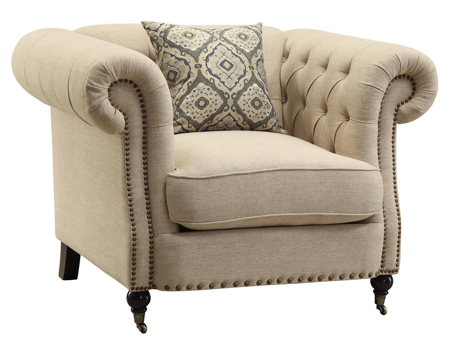 oversized upholstered chair wooden cushions coaster trivellato 505823 traditional button tufted