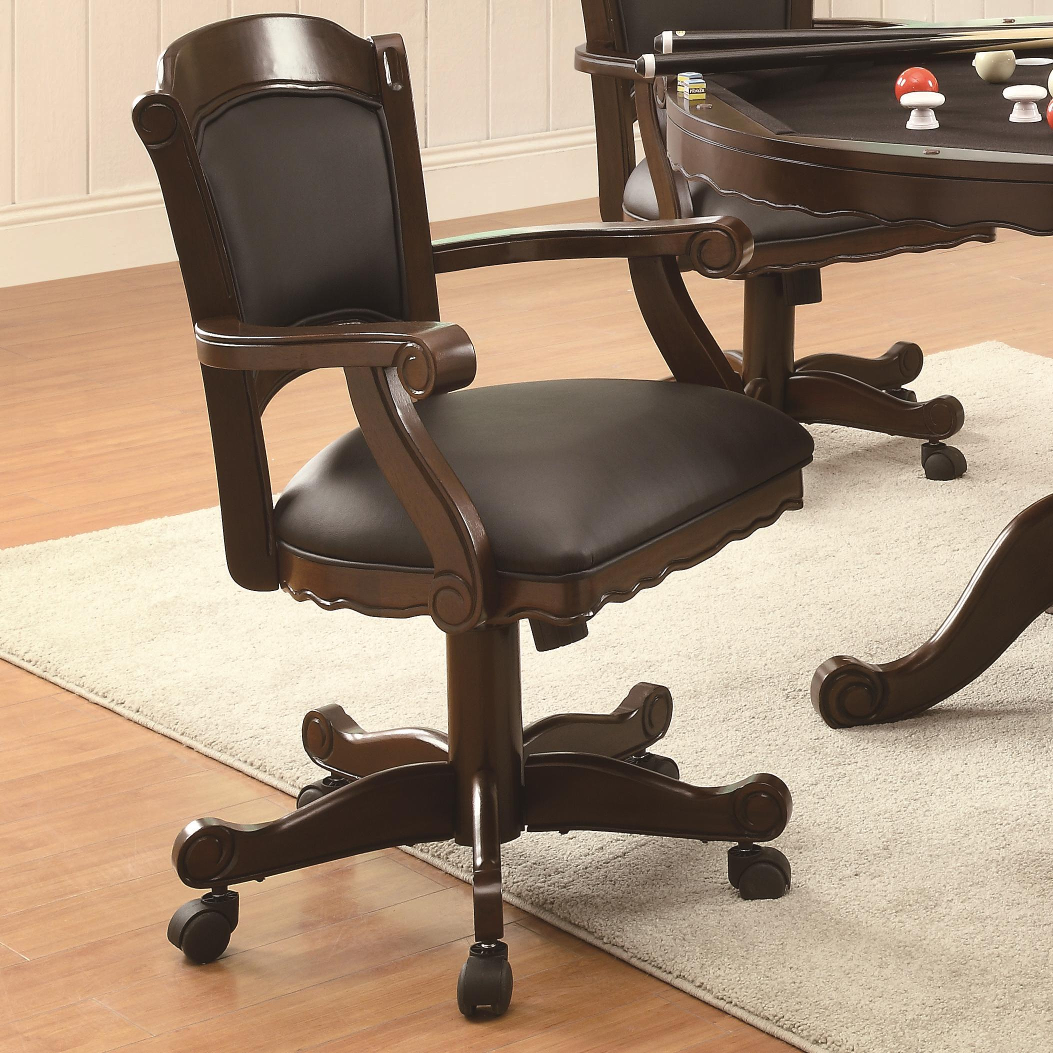 Chair Coasters Coaster Turk 100872 Arm Game Chair With Casters And Fabric