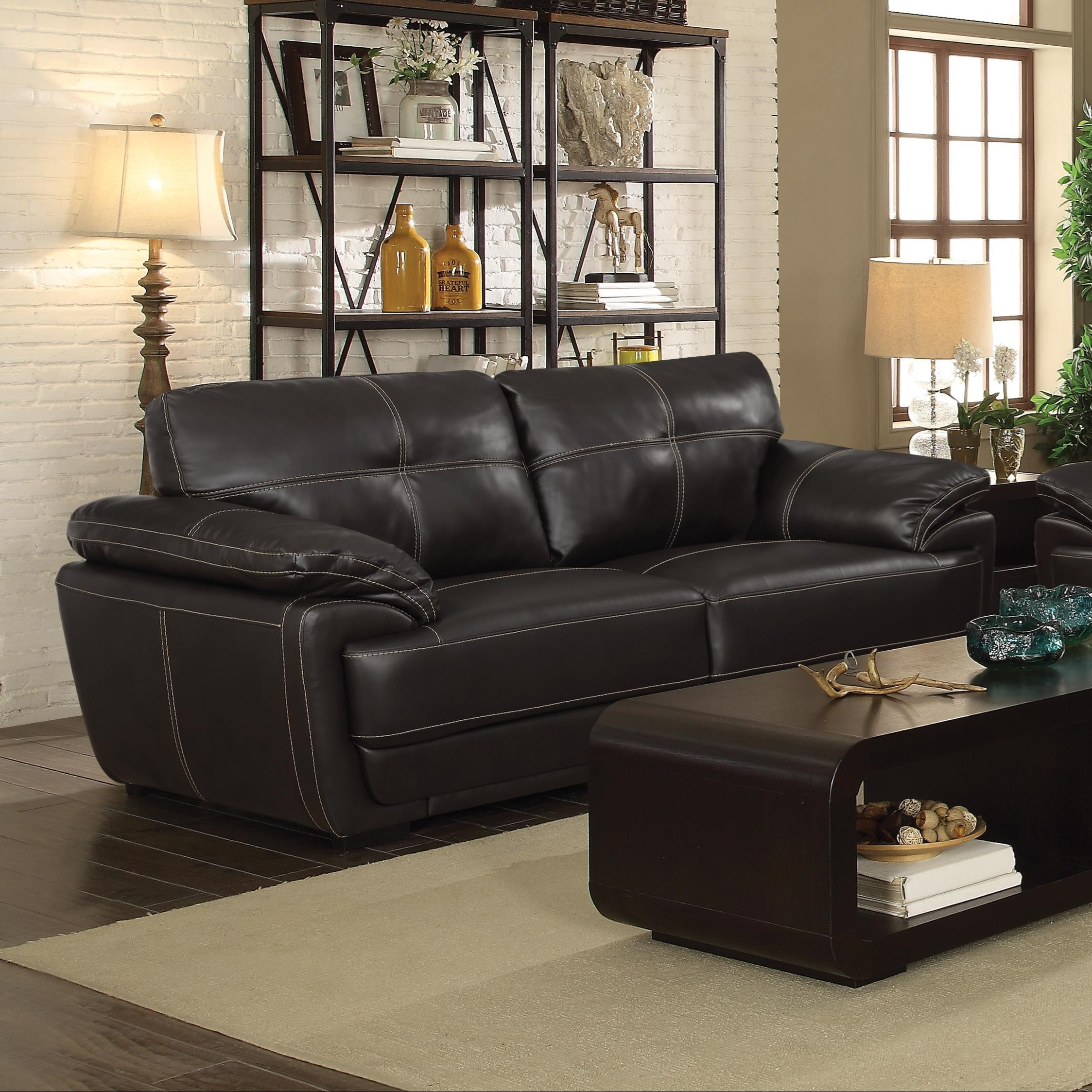 baseball leather sofa antique style bed coaster zenon 551101 two cushion with