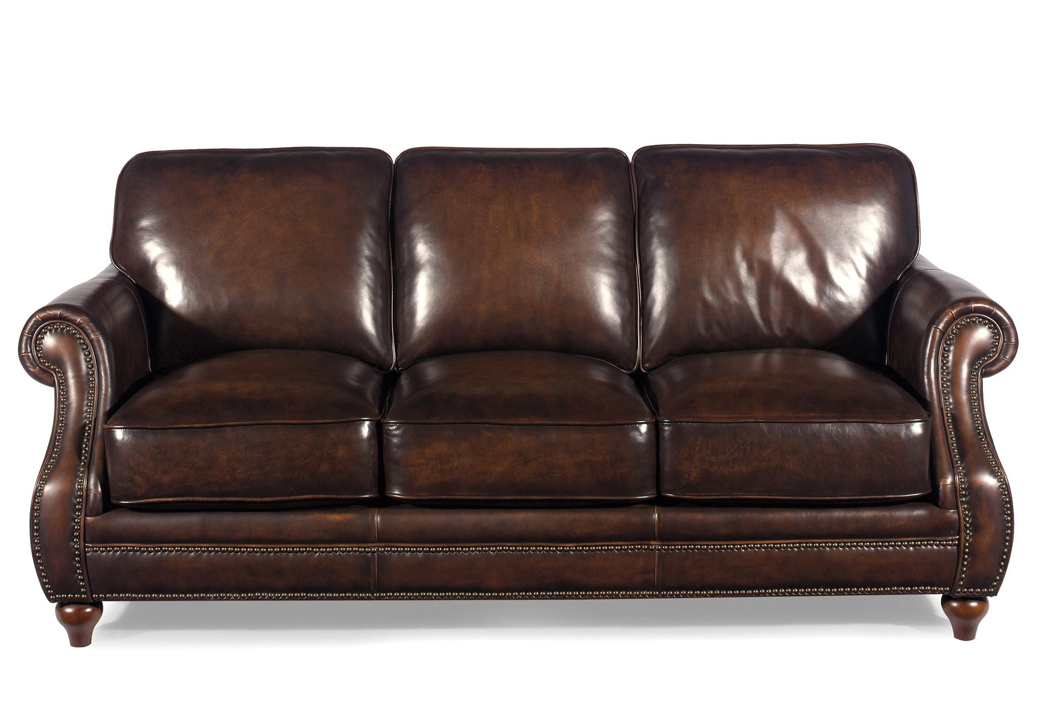 traditional leather sectional sofas twilight sleeper sofa dwr with rolled arms and nailhead trim