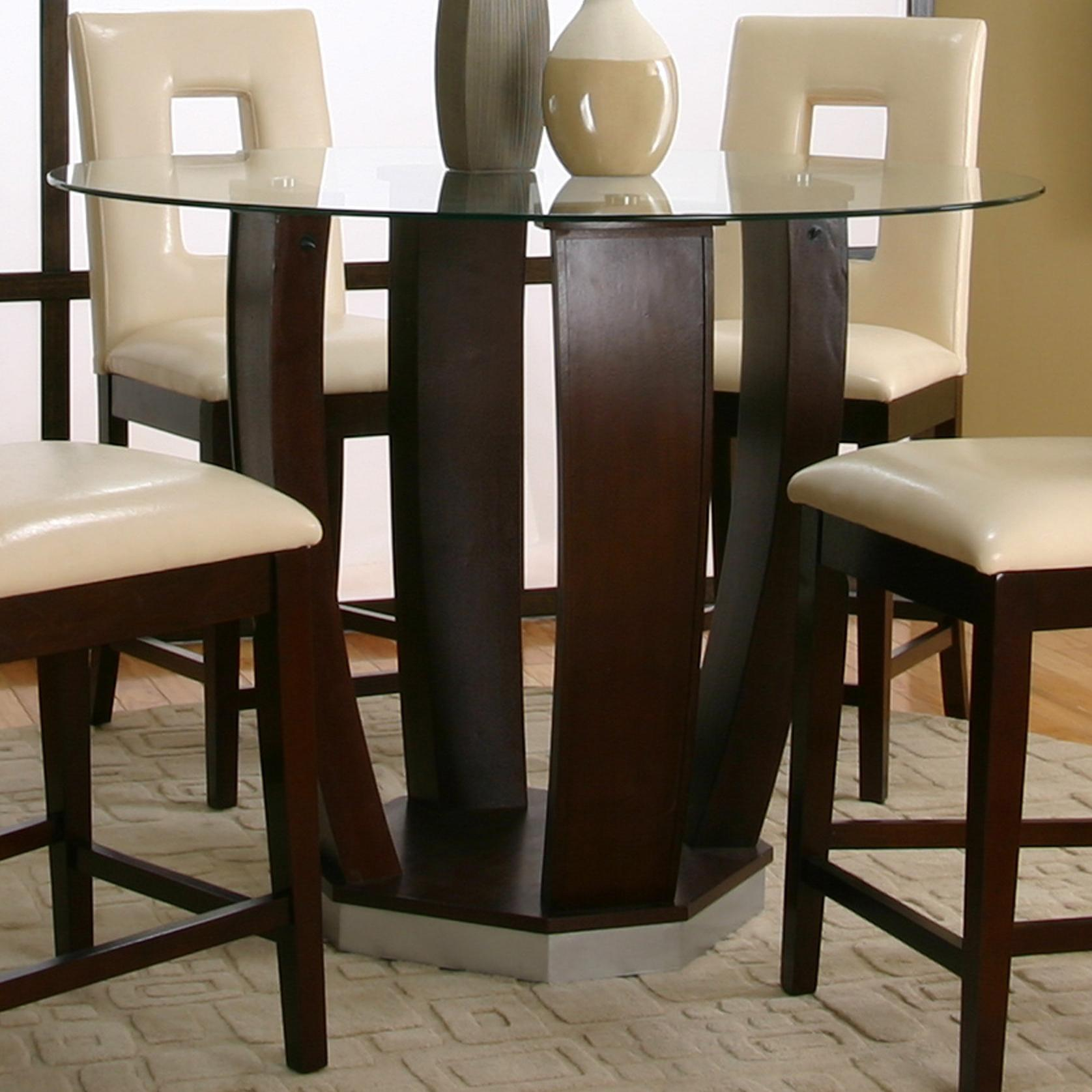 Pub Table With Chairs Cramco Inc Contemporary Design Emerson Round Tempered