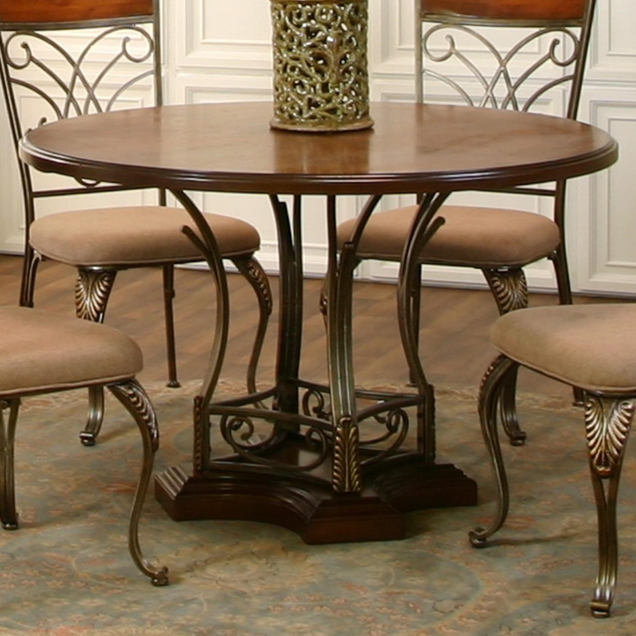 value city furniture kitchen tables farmhouse lights cramco inc harlow transitional 48 quot round metal wood table