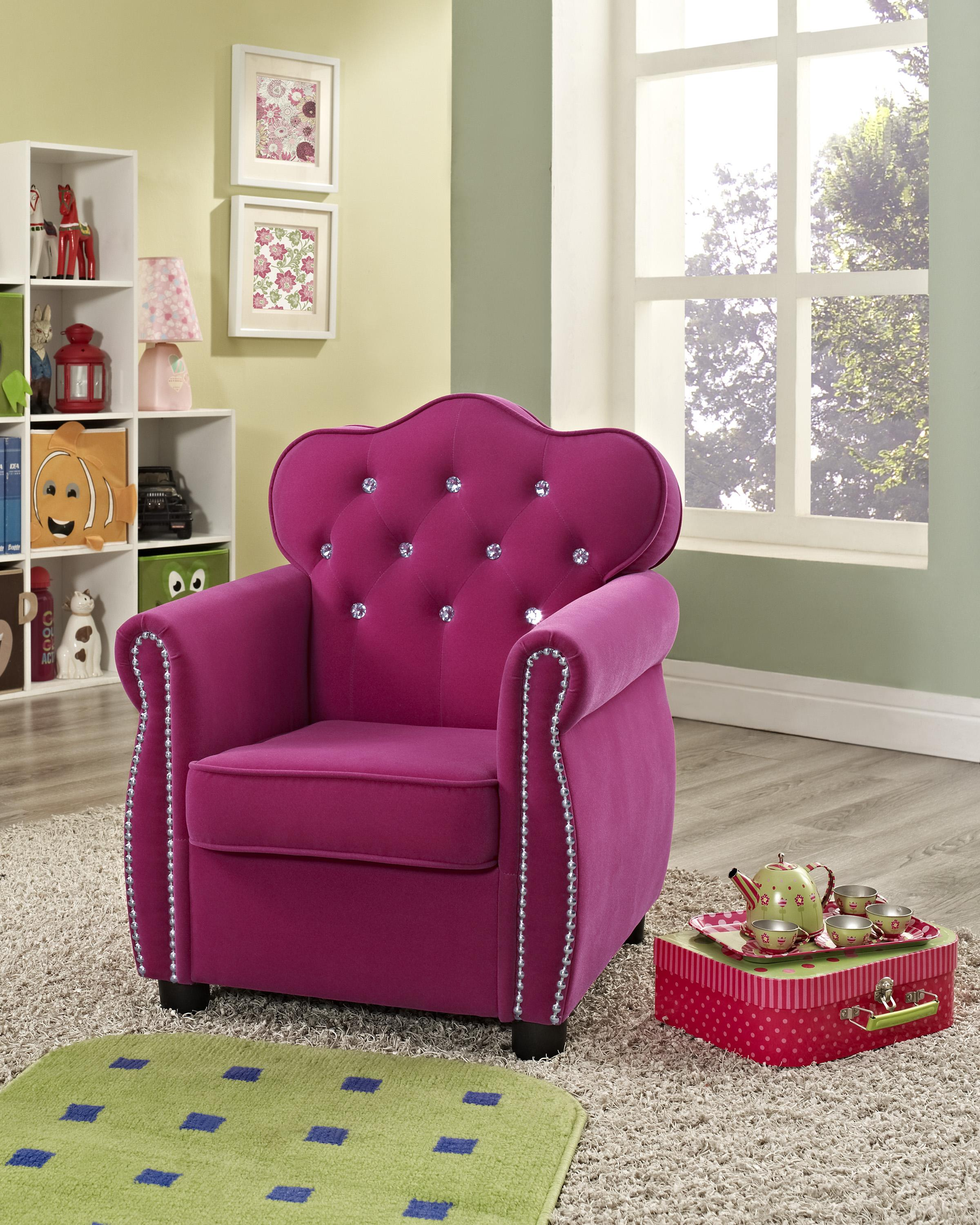 Crown Chair Crown Mark Amelia 7009 Contemporary Pink Kids Chair With