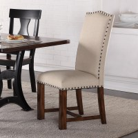 Crown Mark Astor Upholstered Parson Chair with Nailhead ...