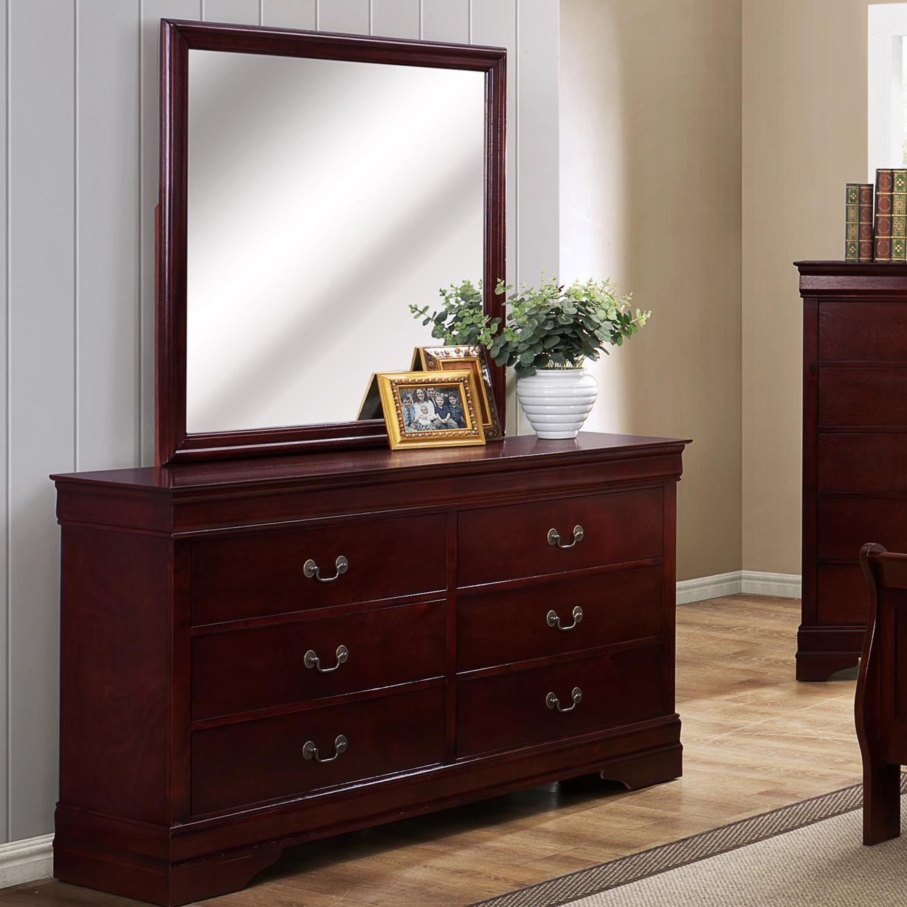 Crown Mark B3800 Louis Phillipe 6 Drawer Dresser with Square Mirror  Dunk  Bright Furniture