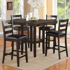 High Bar Table And Chair Set Drexel Dining Chairs Crown Mark Tahoe 2630set 5 Piece Counter Height