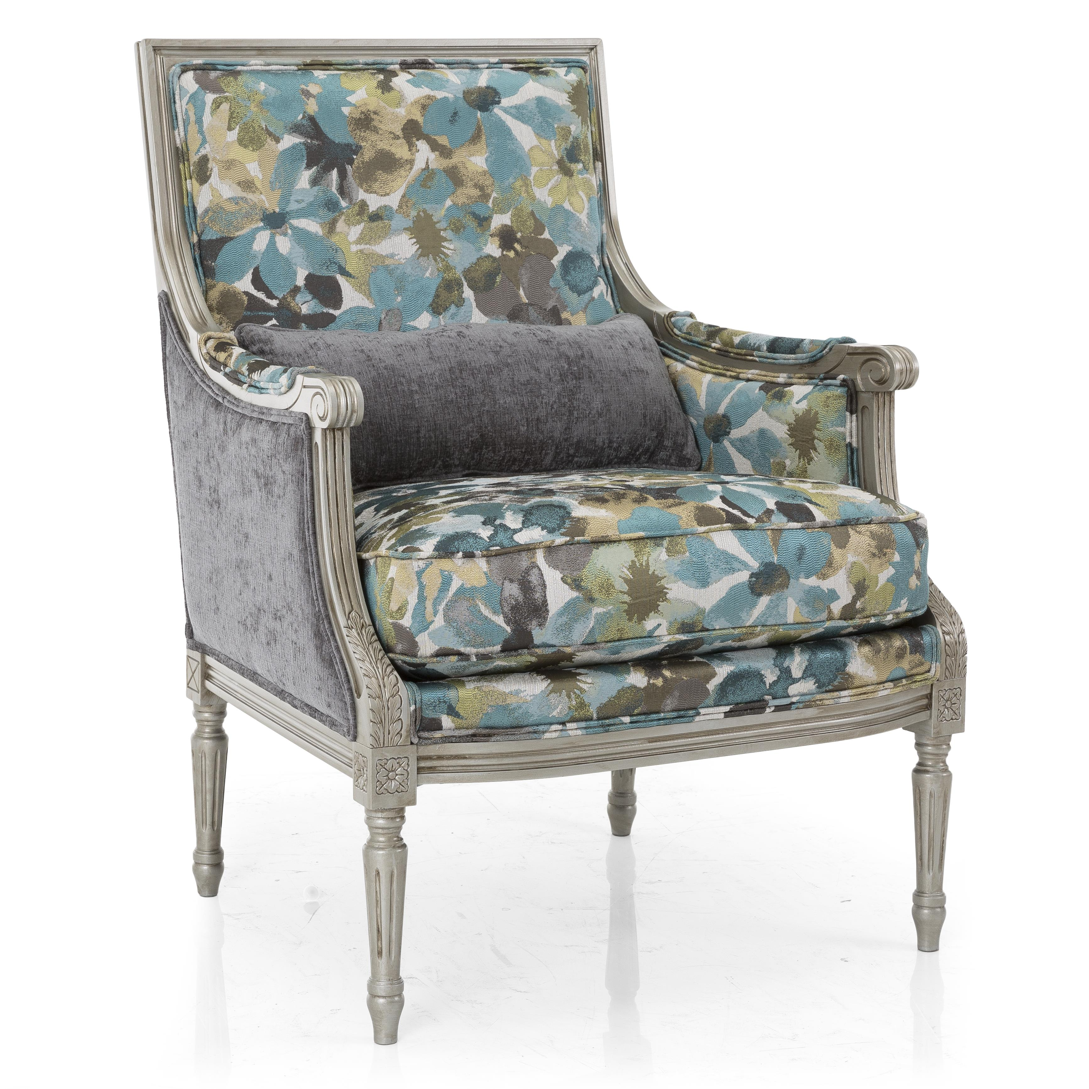 blue floral chair massage cozzia taelor designs accent chairs firenze with exposed