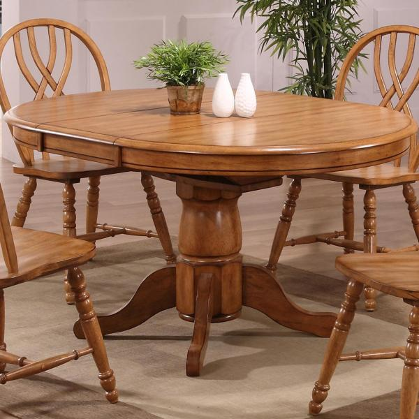 Round Oak Pedestal Dining Table