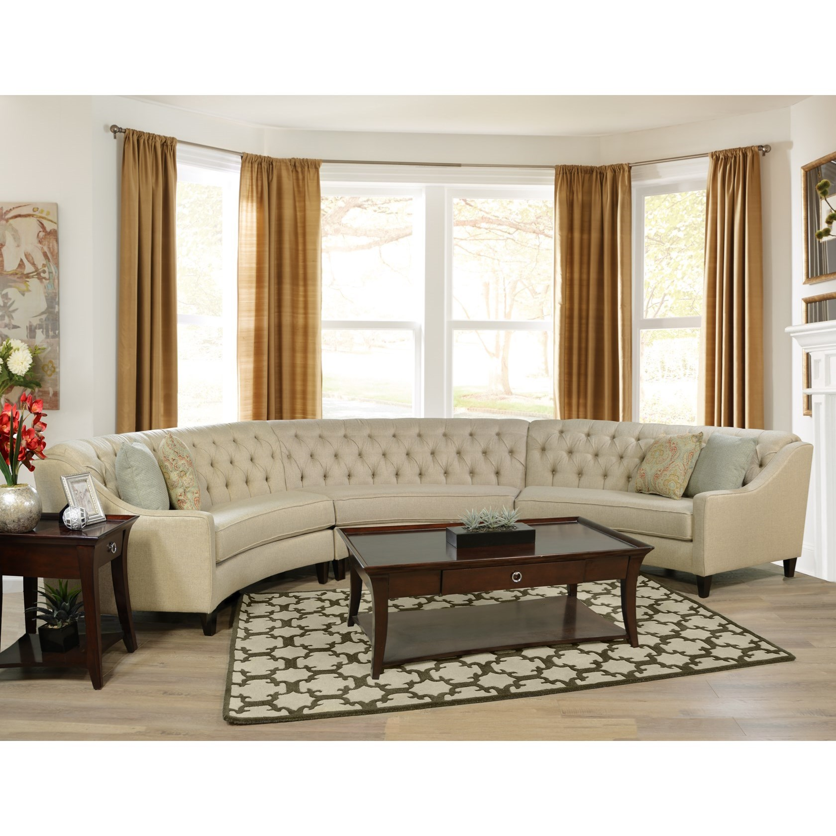 round sectional sofa uk costco pet bed england finneran 3 piece curved moore 39s
