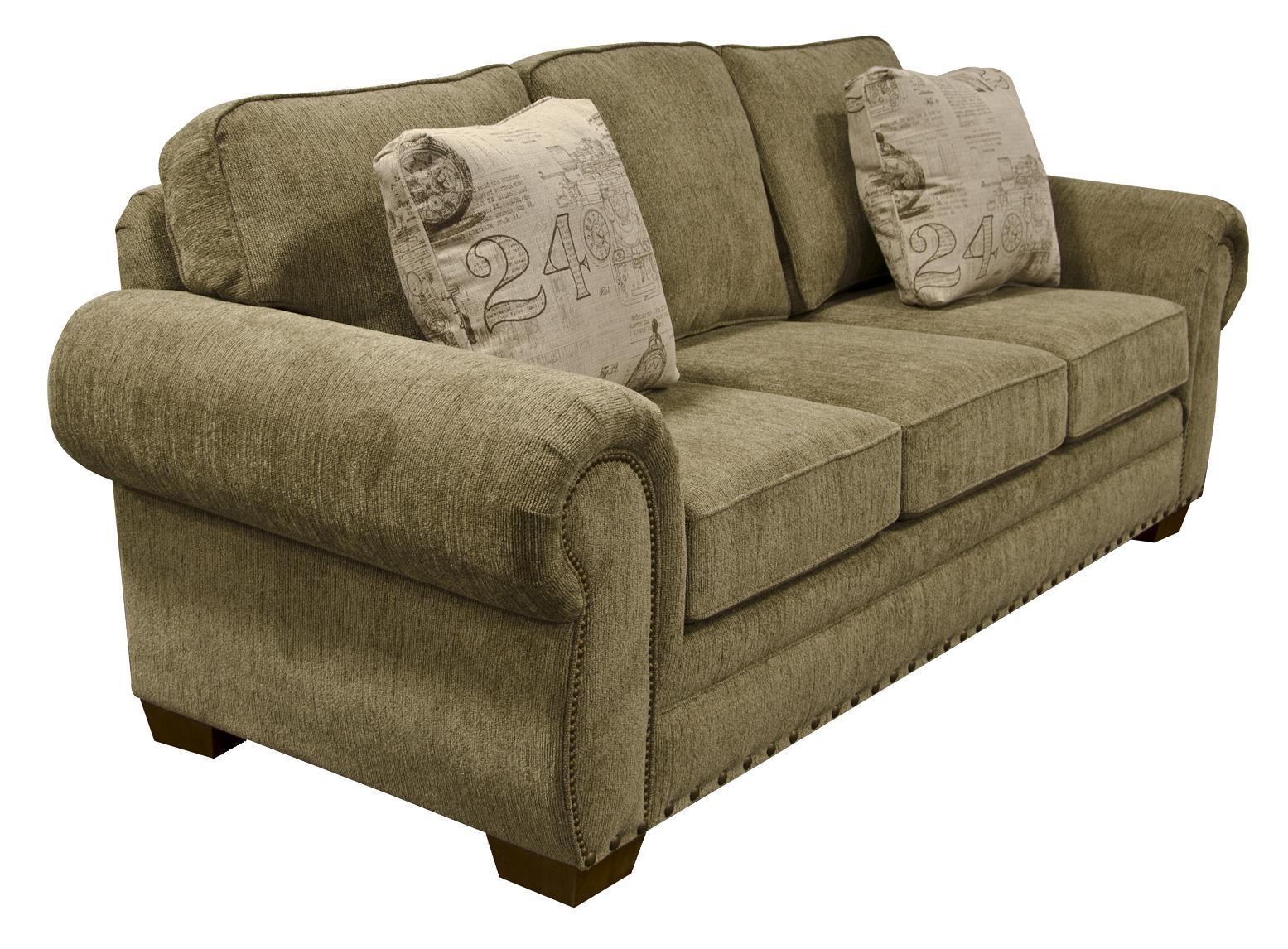 grey carleton nailhead sofa sectional sofas and sleeper england walters with trim h l stephens