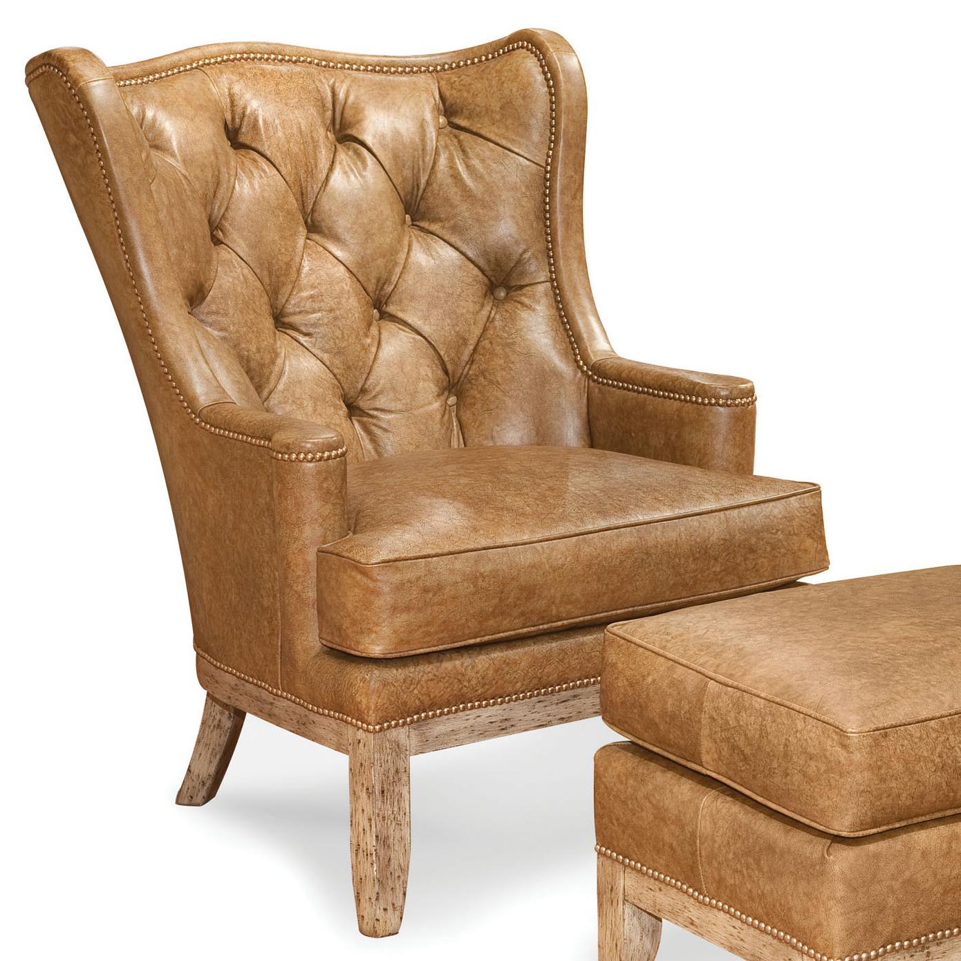 nailhead wingback chair saloon price fairfield chairs tufted wing with trim