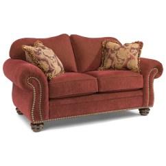 Flexsteel Sofa Sets Brown Grey Walls Bexley Traditional Love Seat With Nailhead Trim