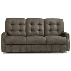 Crescent Power Sofa Recliner With Headrest Green Tufted Flexsteel Devon Button Reclining
