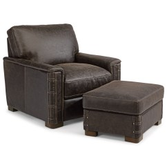 Leather Chair Ottoman Set Porch Rocking Flexsteel Latitudes Lomax Rustic And