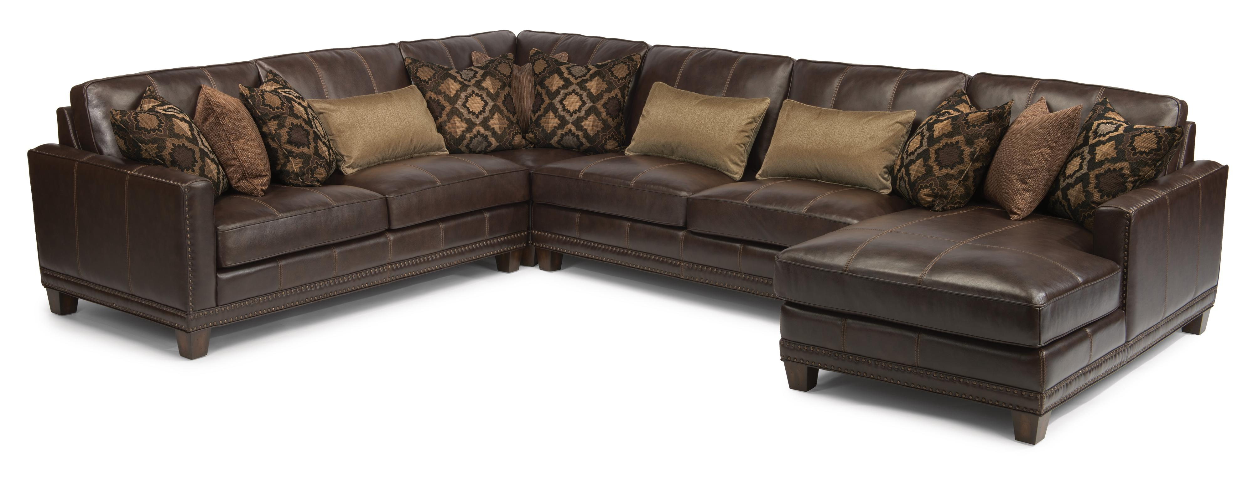 flexsteel sectional sofas sofa beds with a chaise latitudes port royal transitional four piece