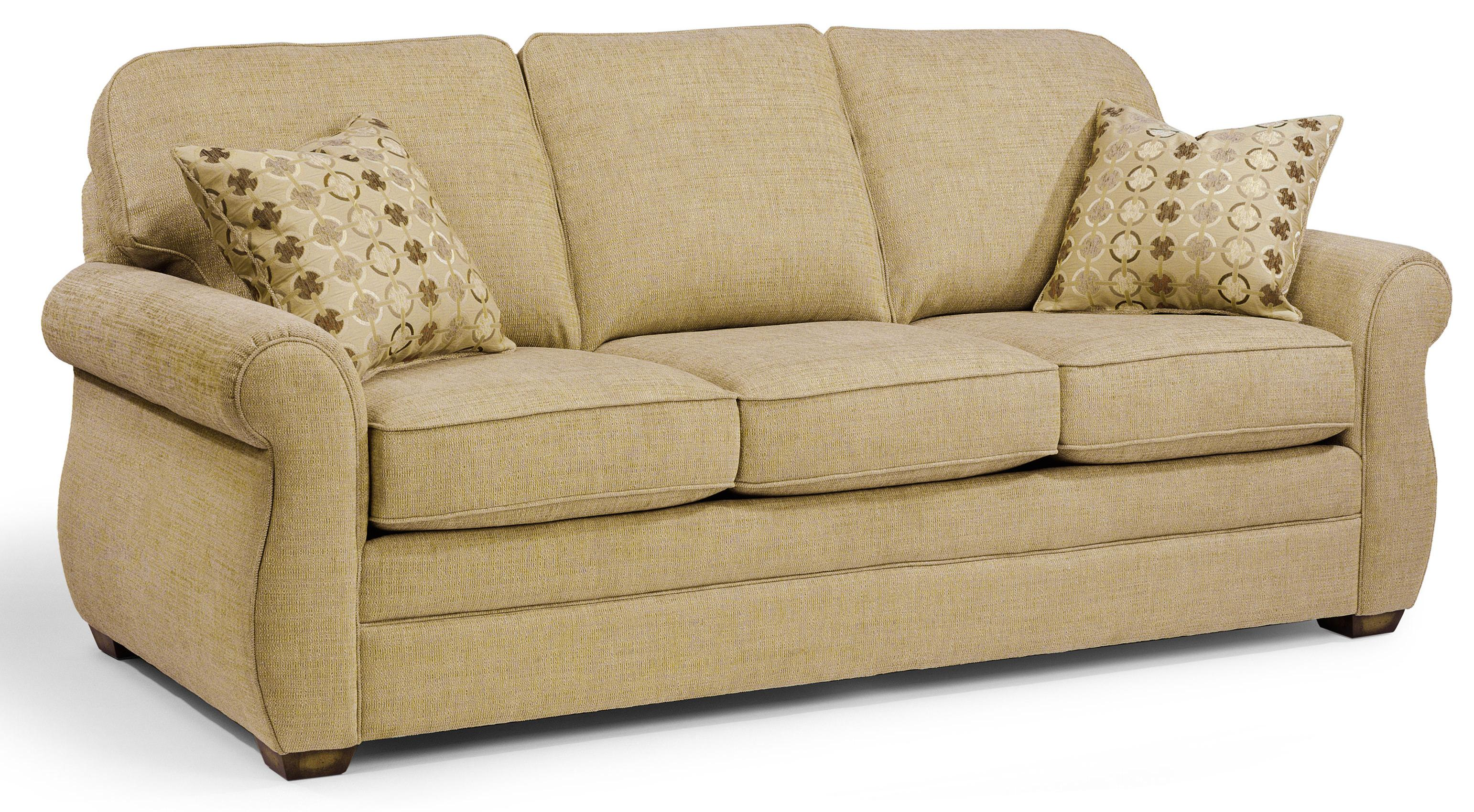 sofas couches white sofa for hire flexsteel whitney with turned arms and wood block
