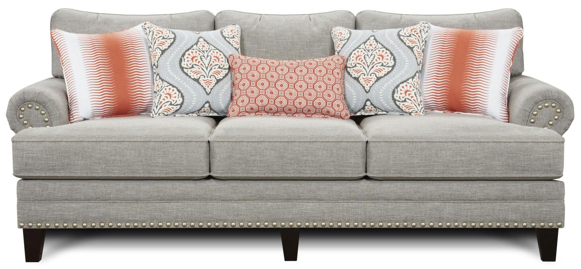 rolled arm sofa with nailhead trim dark grey fabric set fusion furniture 2830 transitional back