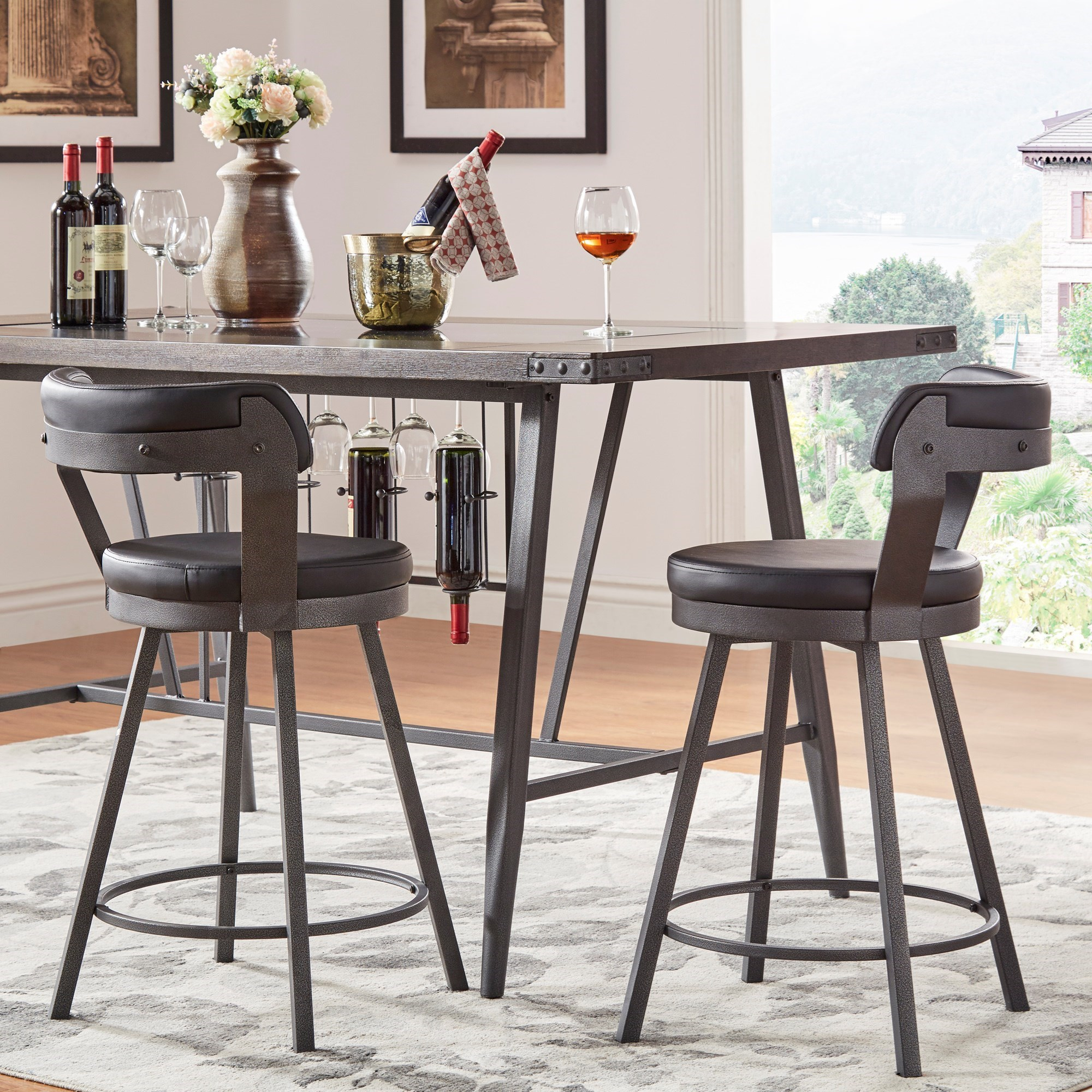 chair stool counter height contemporary accent chairs homelegance 5566 with swiveling seat