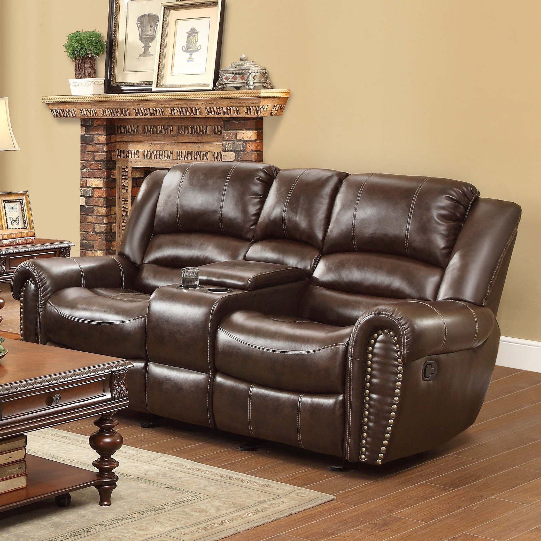 reclining sofa with nailhead trim bauhaus furniture sectional homelegance center hill 9668brw 2 traditional
