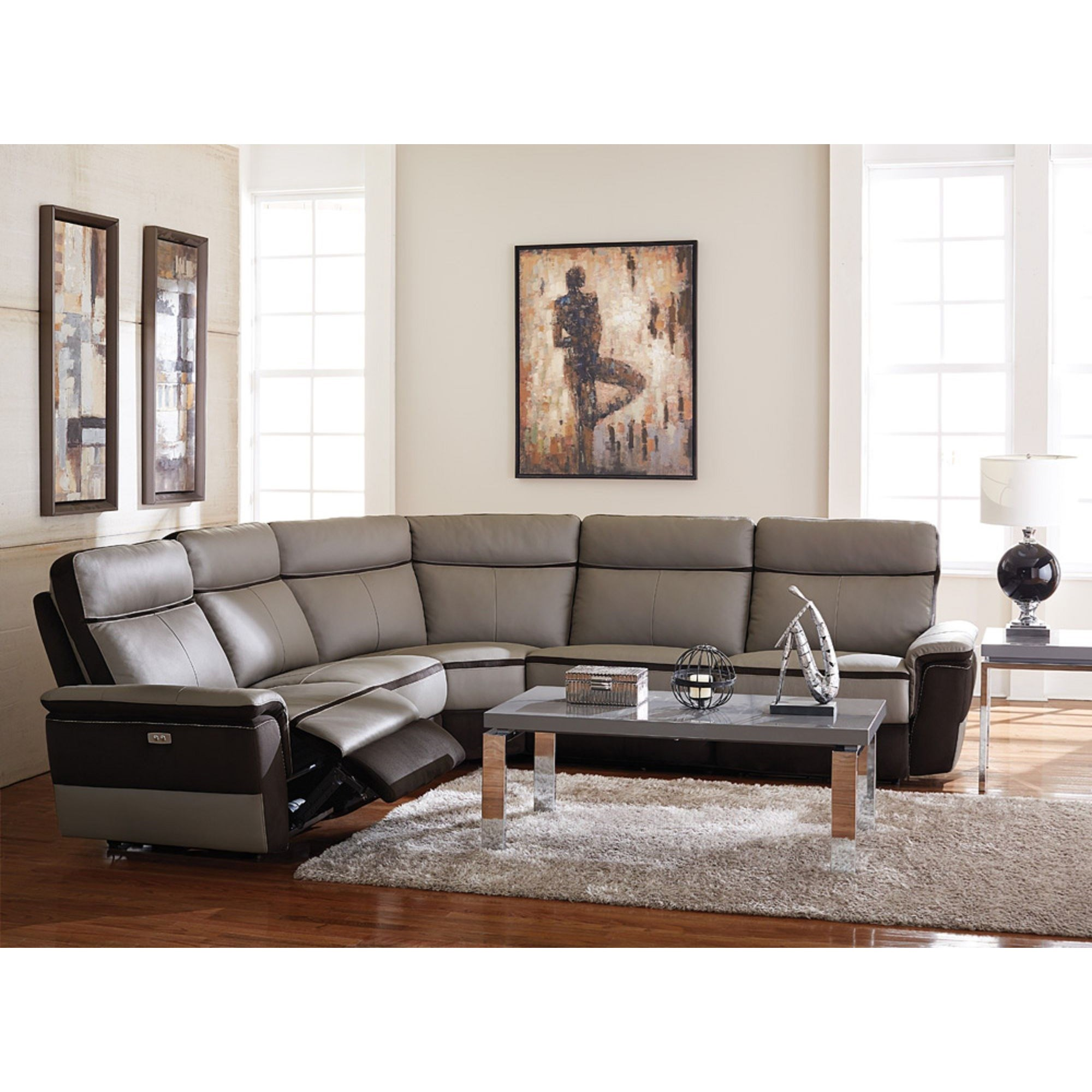 sectional reclining leather sofas queen sofa bed with memory foam mattress homelegance laertes contemporary power