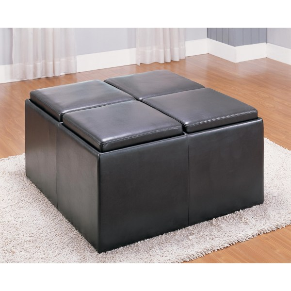 Storage Ottoman with Reversible Tray