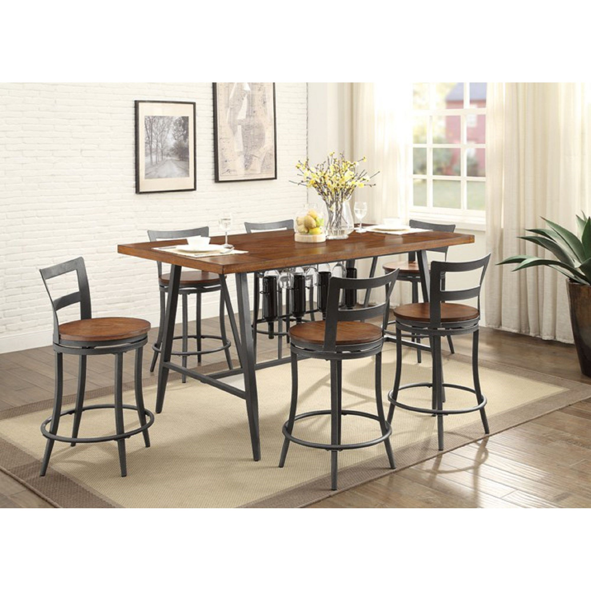 counter height table and chair sets replacement wood seats homelegance selbyville contemporary